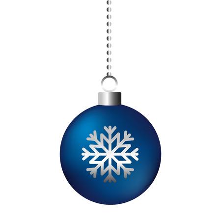 christmas ball snowflake on white background vector illustration
