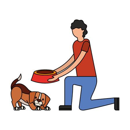 man giving food her dog vector illustration