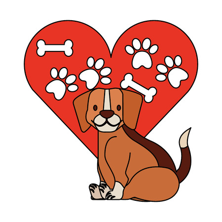 beagle dog heart paws ad bone pet vector illustration