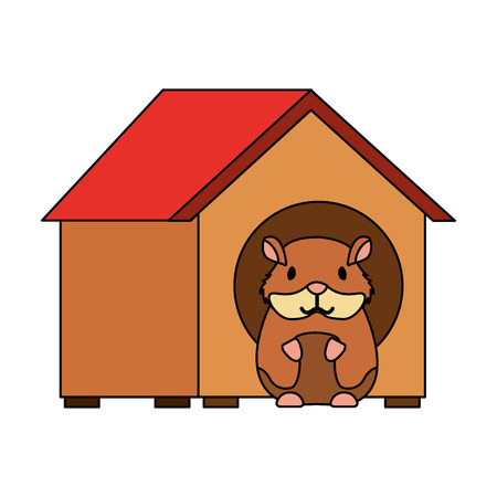 hamster pet in wooden house vector illustration Ilustrace