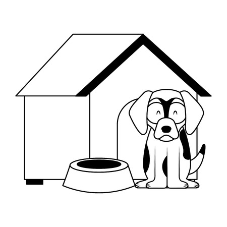 dog wooden house bowl food vector illustration Illustration