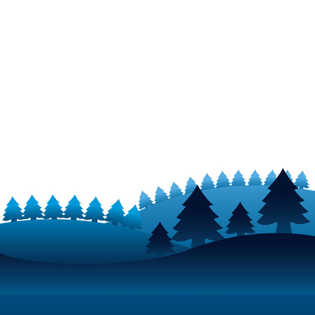 winter landscape pine trees forest vector illustration