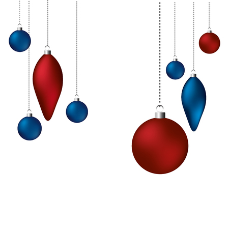red and blue balls happy christmas decoration vector illustration