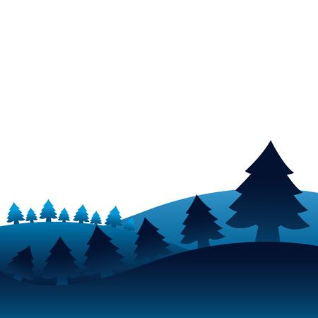 winter landscape pine trees forest vector illustration