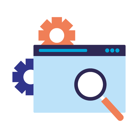 website magnifying glass search engine optimization vector illustration