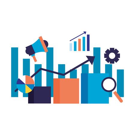 statistics chart speaker search engine optimization vector illustration Imagens - 112117083