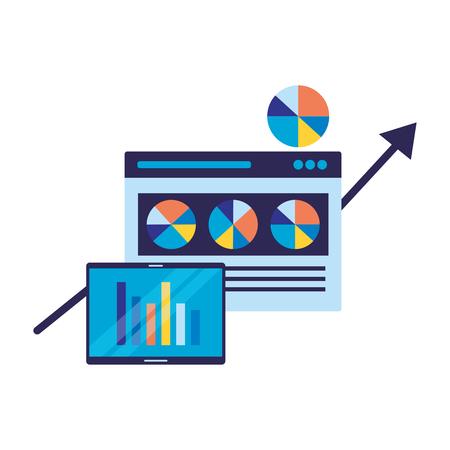 mobile chart statistics website search engine optimization vector illustration Иллюстрация