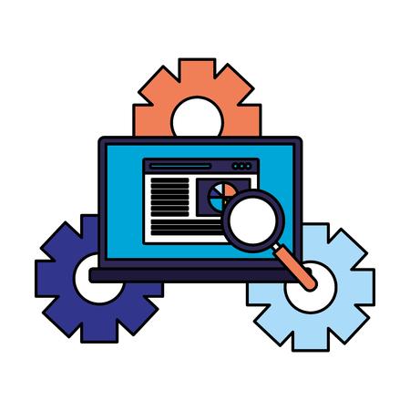 laptop document report gears search engine optimization vector illustration Illustration