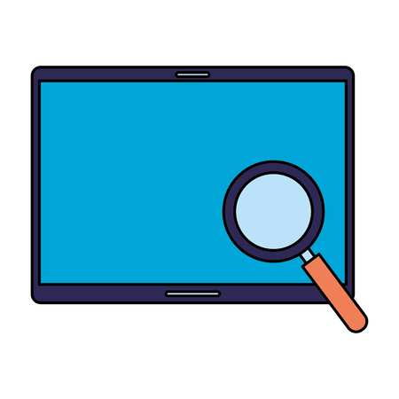 mobile magnifying glass search engine optimization vector illustration