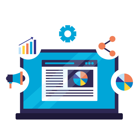 mobile marketing share graph search engine optimization vector illustration
