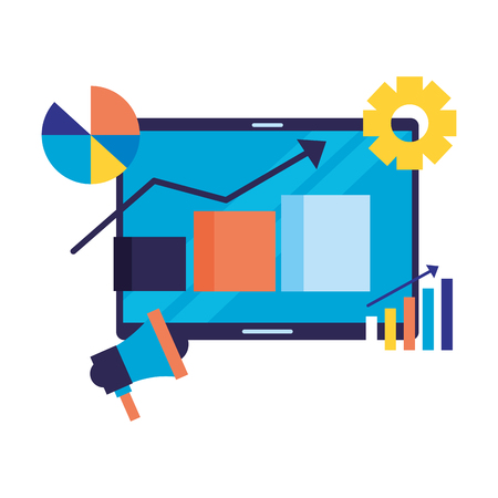 mobile marketing bar graph arrow search engine optimization vector illustration