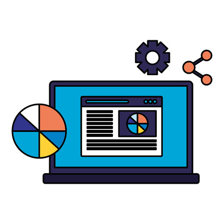 laptop diagram share website search engine optimization vector illustration