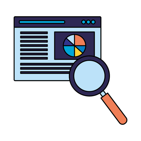 website page magnifying glass search engine optimization vector illustration