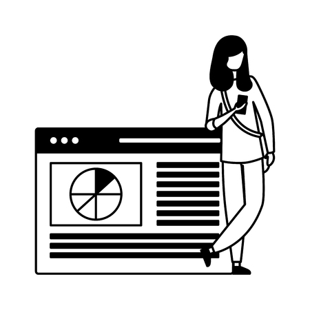 woman using mobile webpage report vector illustration Фото со стока - 127685496
