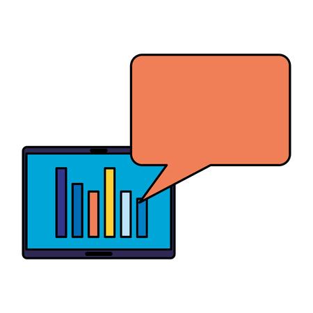 tablet speech bubble search engine optimization vector illustration