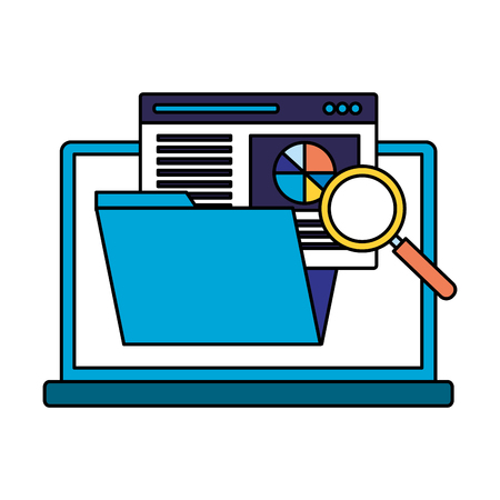 laptop folder page analysis search engine optimization vector illustration