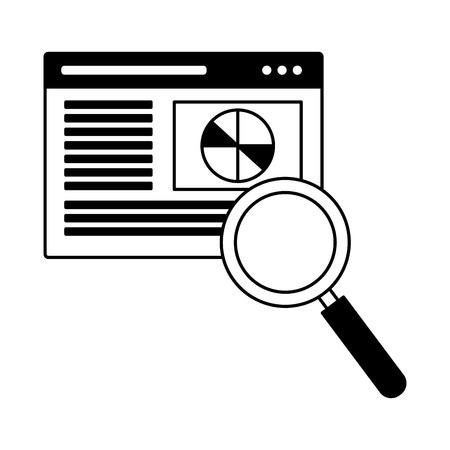 Page de site Web loupe optimisation des moteurs de recherche vector illustration