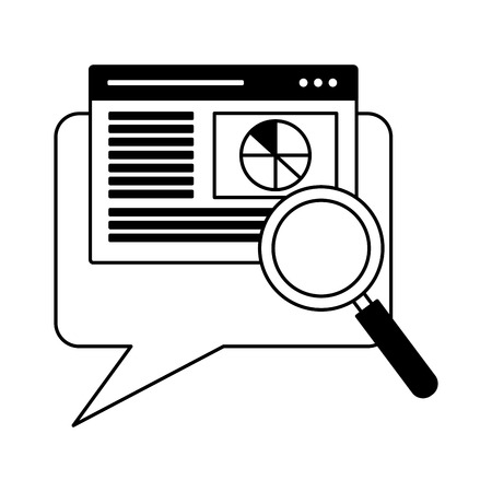 website analysis speech bubble search engine optimization vector illustration Иллюстрация