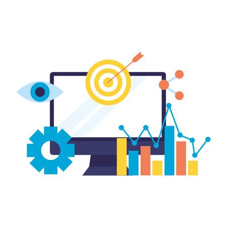 computer target share chart search engine optimization vector illustration Фото со стока - 112117854