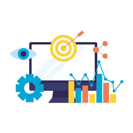 computer target share chart search engine optimization vector illustration