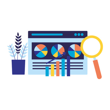 website magnifying glass diagram search engine optimization vector illustration