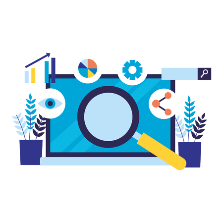 mobile analysis share search engine optimization vector illustration