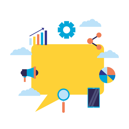 message marketing analysis technology search engine optimization vector illustration