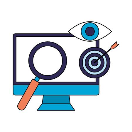 computer analysis target search engine optimization vector illustration Imagens - 112117463