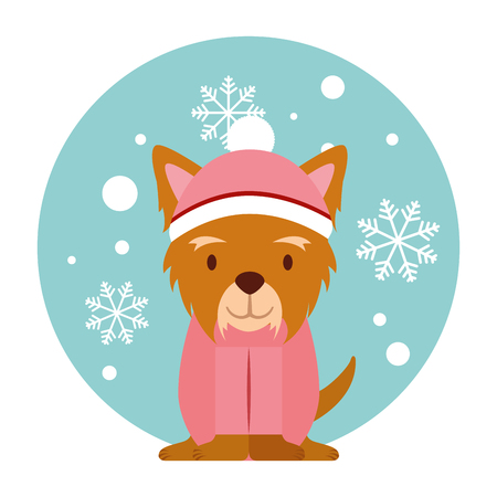 dog snowflake winter clothes christmas vector illustration vector illustration Stock Vector - 127685601