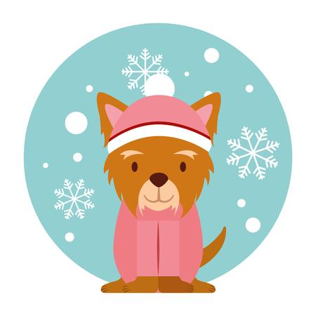 dog snowflake winter clothes christmas vector illustration vector illustration