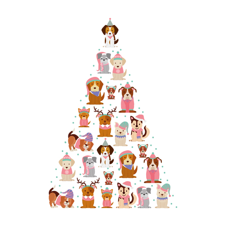 happy christmas dogs a tree shape vector illustration 일러스트