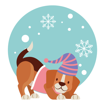 dog snowflake winter clothes christmas vector illustration vector illustration Ilustración de vector