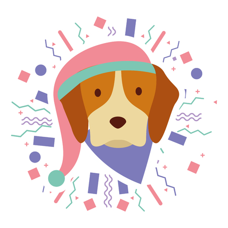 dog with hat party celebration vector illustration
