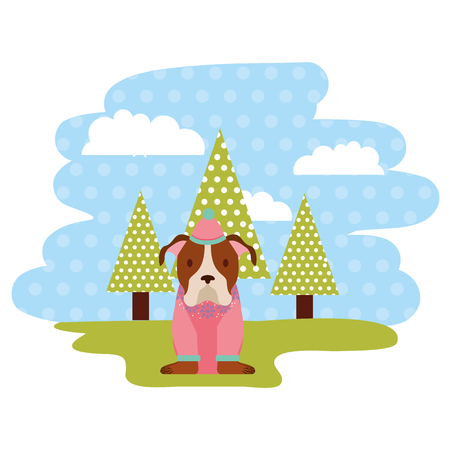 dog with winter hat in the park vector illustration Banque d'images - 112142633
