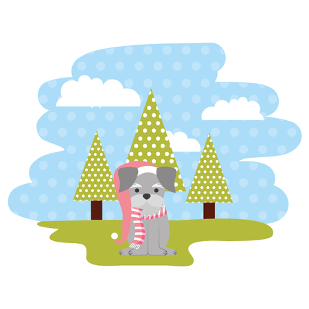 dog with winter hat in the park vector illustration Banque d'images - 112142634