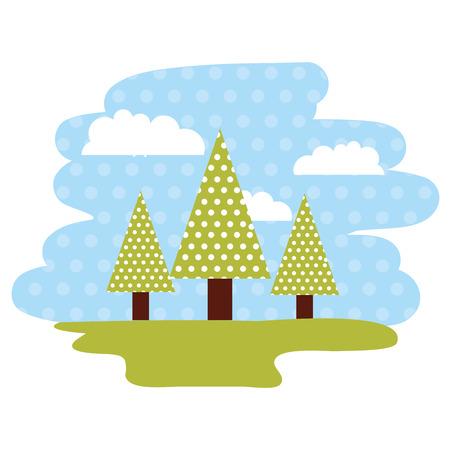 landscape forest tree clouds dotted background vector illustration