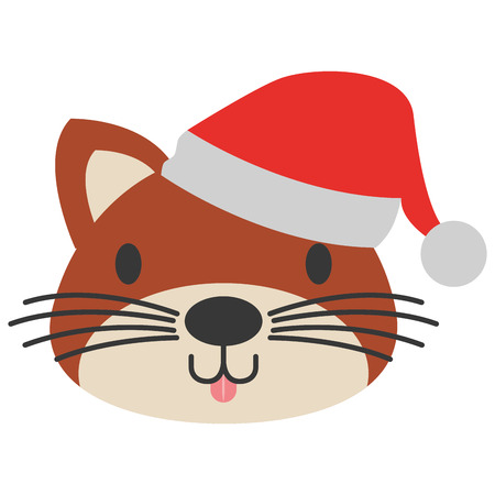 cute cat with warm hat christmas vector illustration Ilustrace