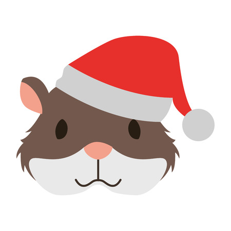cute hamster with warm hat christmas vector illustration Stok Fotoğraf - 127685637