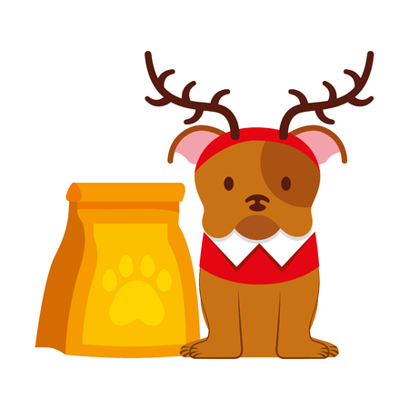 dog with and food bag merry christmas vector illustration Archivio Fotografico - 127685641