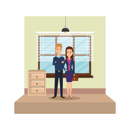 modern office with business couple vector illustration design Vectores