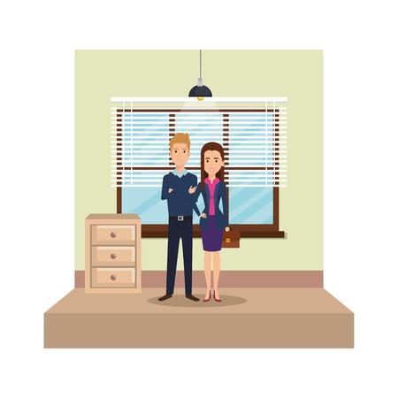 modern office with business couple vector illustration design Stock Illustratie
