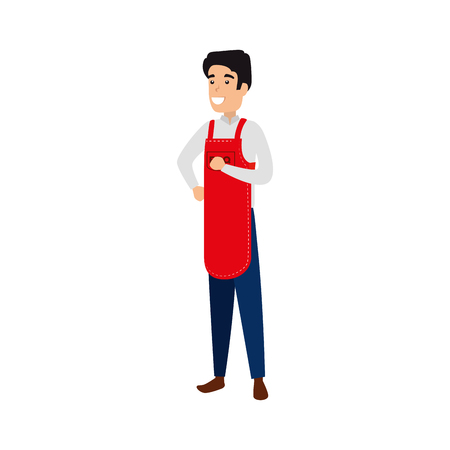 man with bbq apron character vector illustration design 矢量图像