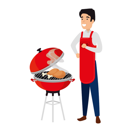 man with bbq apron and grill vector illustration design