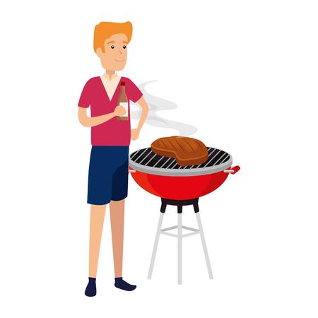 man cooking in bbq grill vector illustration design Archivio Fotografico - 112151547