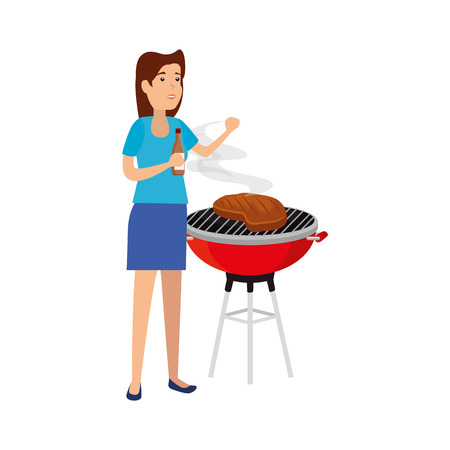 woman cooking in bbq grill vector illustration design Archivio Fotografico - 127638208