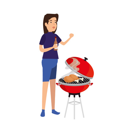 woman cooking in bbq grill vector illustration design Banque d'images - 127638209