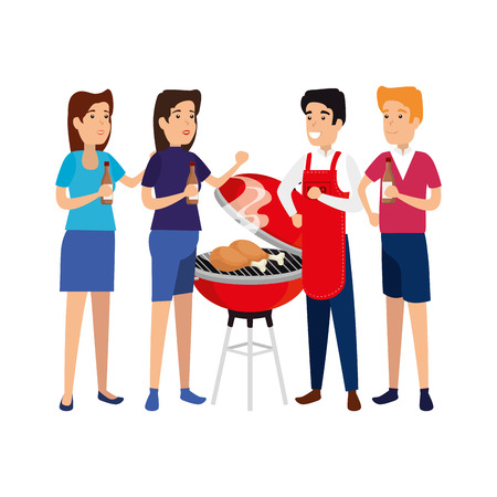 man with bbq apron and people vector illustration design