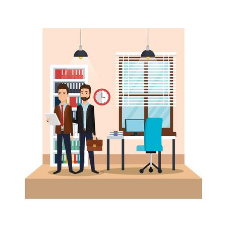 modern office with businessmen vector illustration design