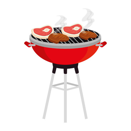bbq grill with meat beef vector illustration design Stok Fotoğraf - 127638219