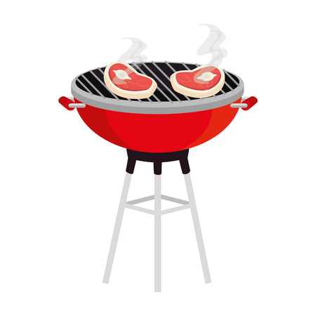 bbq grill with meat beef vector illustration design